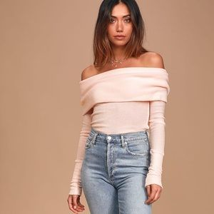 Free people ribbed pale pink snow bunny sweater